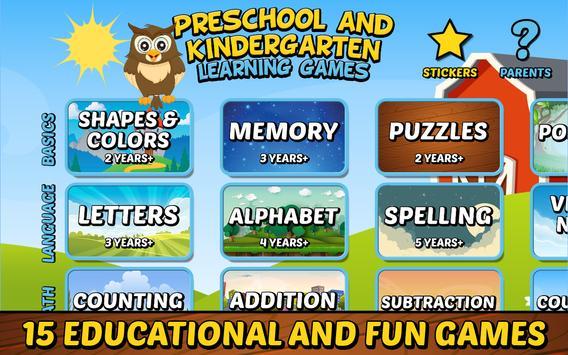 Preschool and Kindergarten Learning Games poster