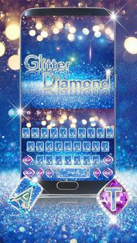 Blue Diamond Glitter Keyboard poster