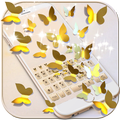 Gold Butterfly Emoji Keyboard Theme