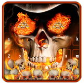 Angry skull Keyboard Theme Fire Skull icon