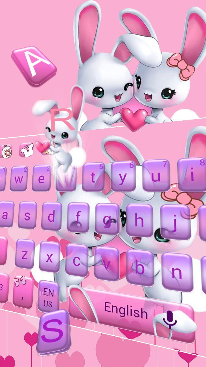 Android 用の ピンクのバニーの壁紙とかわいい愛のウサギのキーボード