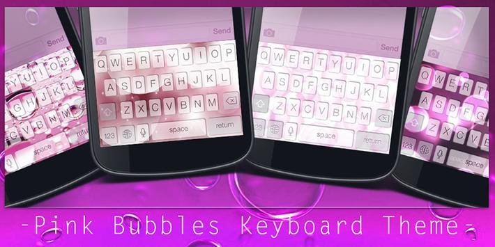 Pink Bubbles Keyboard Theme poster