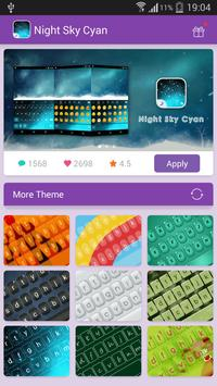 Emoji Keyboard-Night Sky Cyan poster