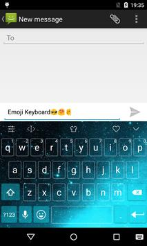 Emoji Keyboard-Night Sky Cyan screenshot 1