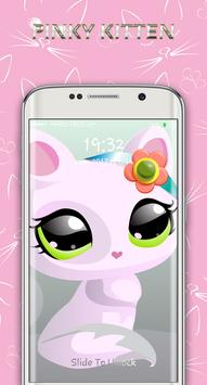 cute pinky kitten lock screen poster