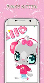 cute pinky kitten lock screen screenshot 1