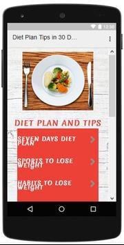 Diet Plan Tips in 30 Days poster