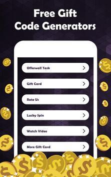 Free Gift Code Generators apk screenshot
