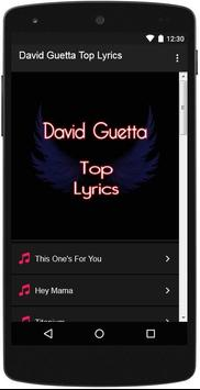 David Guetta Top Lyrics poster