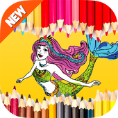 Coloring for barbie Mermaid icon