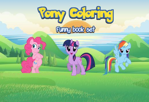 Pony Coloring for little kid poster