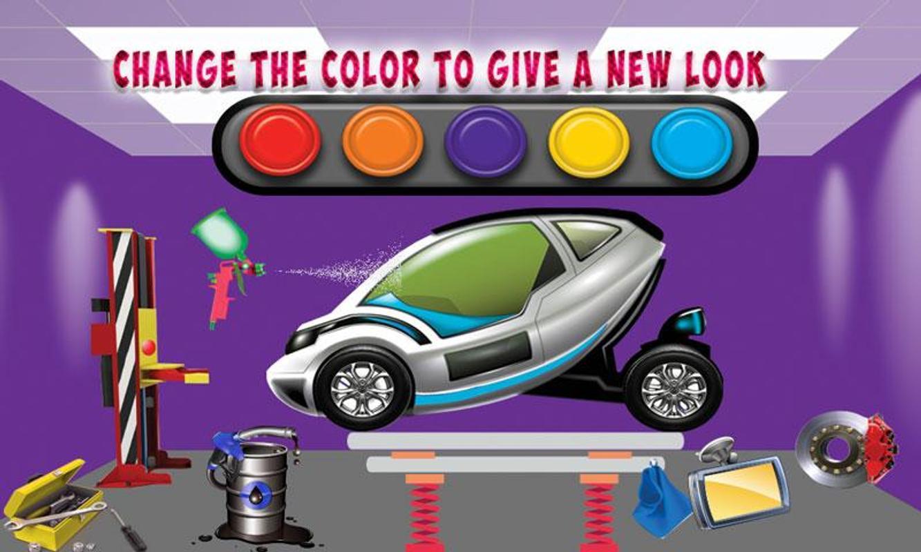 Electric Car Mechanic Garage Repair Work Poster