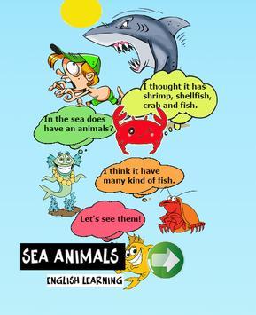 Sea animals english language poster