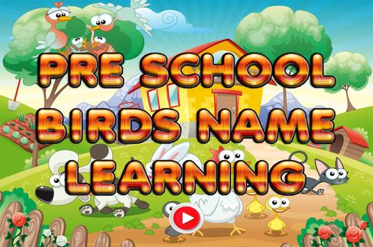 Pre School Games Birds Name poster
