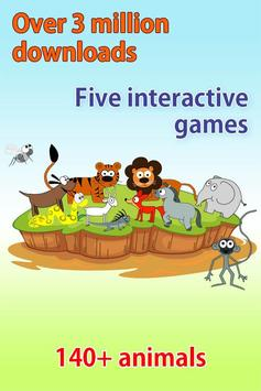 Kids Zoo, animal sounds & pictures, games for kids poster