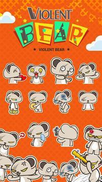 Kika Pro Violent Bear Sticker apk screenshot