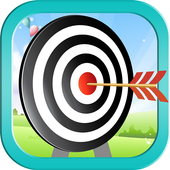 Bow and Arrow archery of tiny shooting target game icon