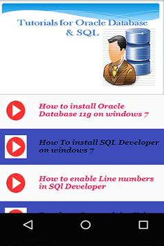 Tutorials for Oracle Database & SQL poster