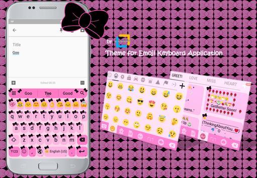 Ribbon Pink Black Emoji Keyboard Theme apk screenshot