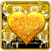 Gold Glitter Heart Keyboard Skin icon