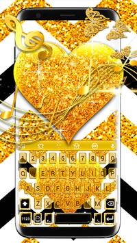 Gold Glitter Heart Keyboard Skin poster