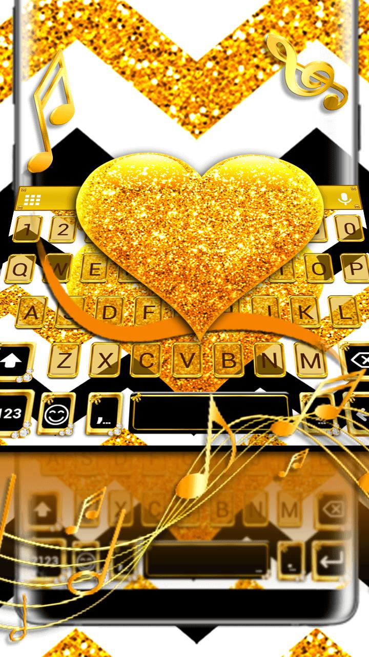 Gold Glitter Heart Keyboard Skin for Android - APK Download