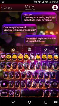 Fire Heart Emoji Keyboard Skin apk screenshot