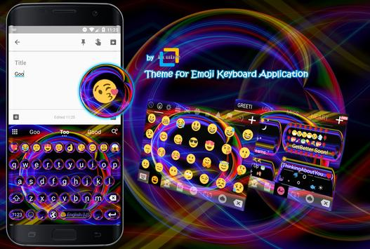 Neon Abstract Emoji Keyboard Theme poster