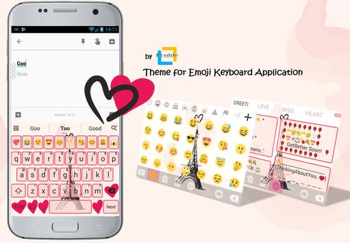 Paris Pink Eiffel Emoji Keyboard Theme poster