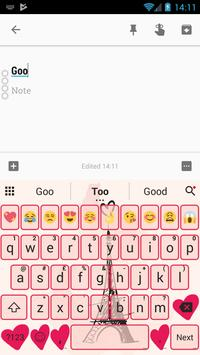 Paris Pink Eiffel Emoji Keyboard Theme apk screenshot