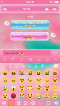 Pink Cloud Emoji Keyboard Skin apk screenshot