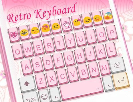 Retro Pink Emoji Keyboard Skin apk screenshot