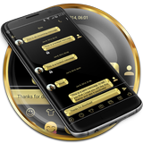 SMS Messages Metallic Gold Theme
