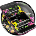SMS Messages Glass Black Flower Theme