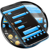 SMS Messages Gloss Azure icon