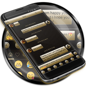 SMS Messages Gloss GoldBlack icon
