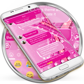 SMS Messages Sparkling Pink Theme - emoji chat icon
