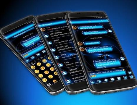 SMS Messages Spheres Blue Theme apk screenshot