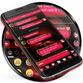SMS Messages Spheres Red Theme icon