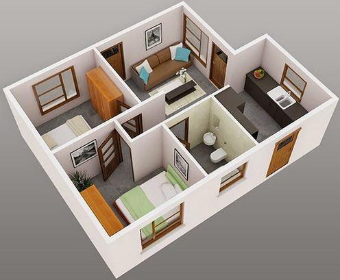 denah rumah 6×9 3 kamar