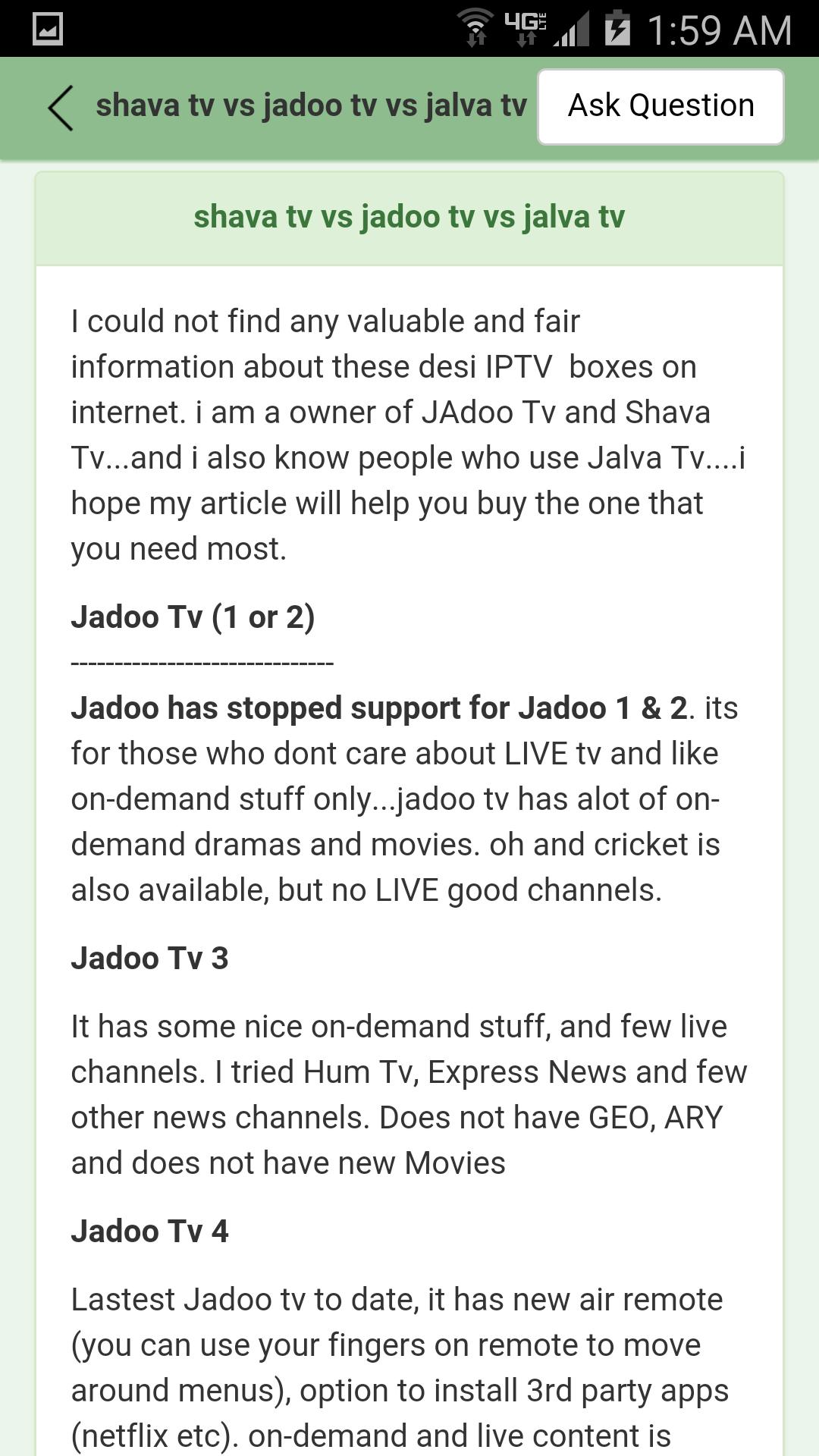 KnowledgeZone  Jadoo Tv Review for Android - APK Download