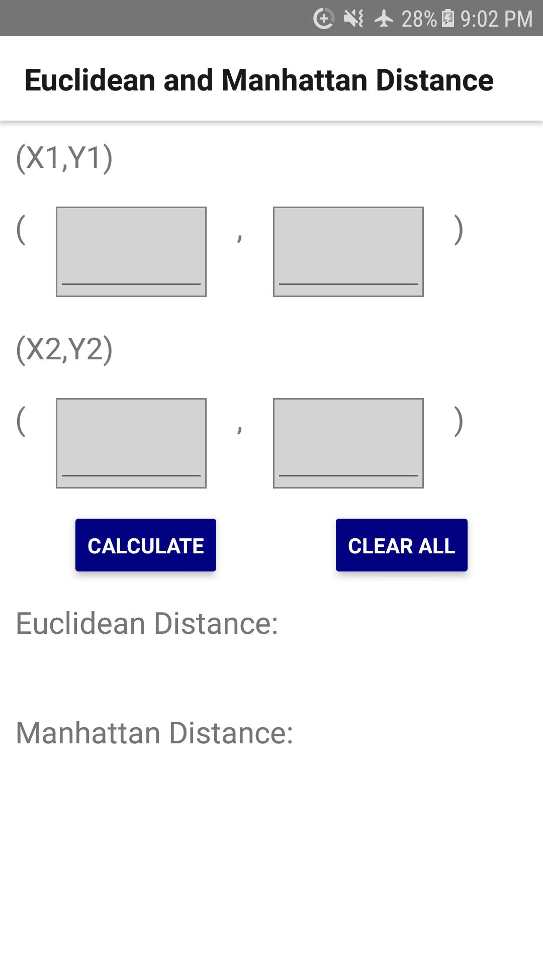 Euclidean and Manhattan Distance Calculator for Android