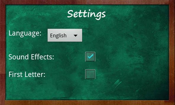 Educational Hangman in English apk screenshot