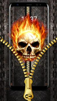 Fire Skull Zipper Lock Theme poster