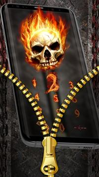 Fire Skull Zipper Lock Theme screenshot 1