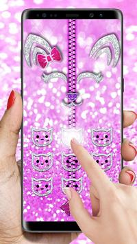 Pink Shiny Kitty Zipper Lock screenshot 2