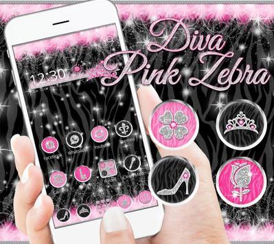 Diva Hot Pink Zebra Launcher Theme poster