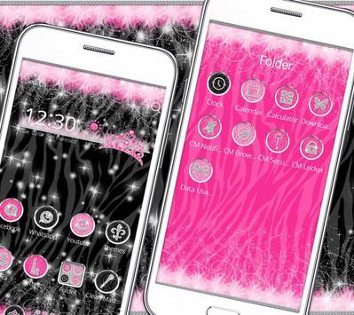 Diva Hot Pink Zebra Launcher Theme apk screenshot