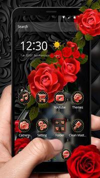 Роскошная черная красная роза постер