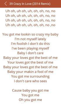 Hit Beyonce's Songs Lyrics apk screenshot